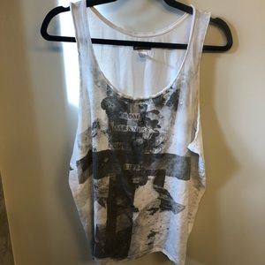"Divided H&M muscle tank ""From darkness comes life"""